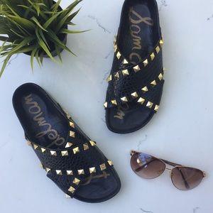 {Sam Edelman} 'Arina' Black Leather Studded Slide